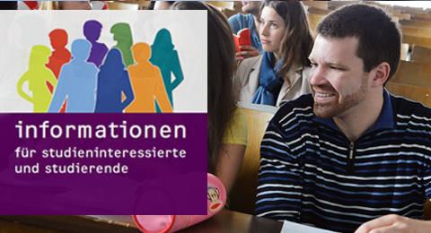 Titelbild der Broschüre: Informationen für Studieninteressierte und Studierende und Studierende in einem Hörsaal