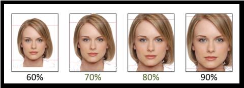 Das Bild zeigt schematisch die erforderlichen Gesichtproportionen für das Bild auf der CAU Card