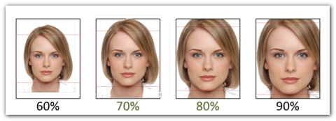 The picture shows the necessary facial proportions of the image on the CAU Card
